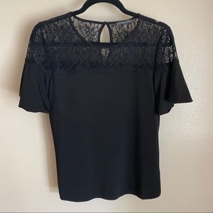 Adrianna Papell bell sleeve lace detail top, S